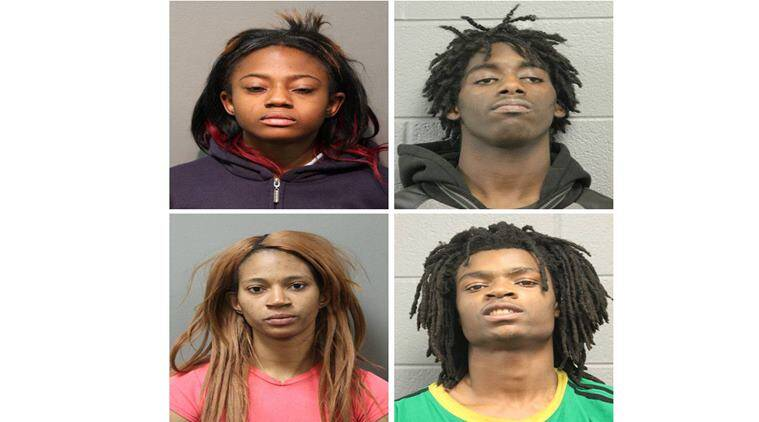 Caption A combination photo shows four people charged with felonies for the beating of a man with mental health issues, L-R top row: Brittany Covington, 18, Jordan Hill, 18, bottom row: Tanishia Covington, 24, and Tesfaye Cooper, 18, shown in Chicago Police Department photos released in Chicago, Illinois, U.S. January 5, 2017. Courtesy Chicago Police Department/Handout via REUTERS