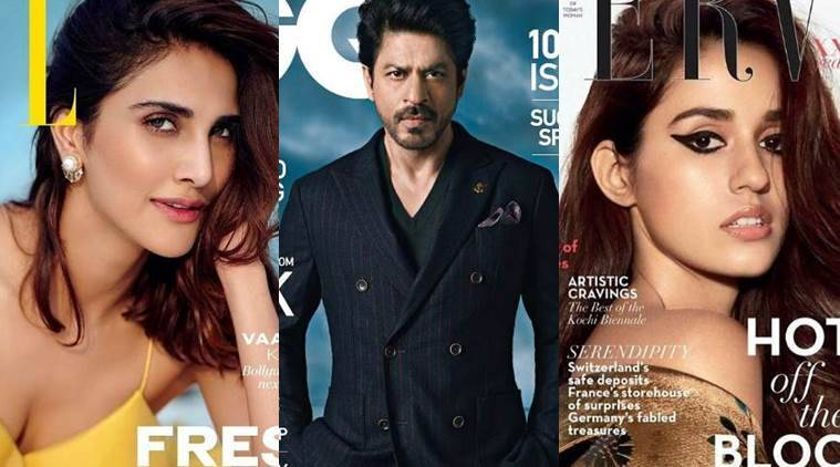 From L to R: Vaani Kapoor, Shah Rukh Khan and Disha Patani on the covers of leading fashion magazines. (Source: Instagram)