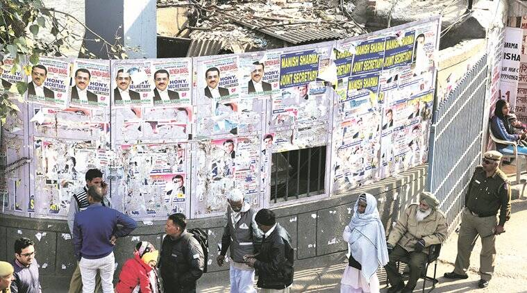 delhi high court, delhi bar association, election poster, lawyer put posterm bar association elections, delhi bar association election campaign, delhi, delhi news, indian express news