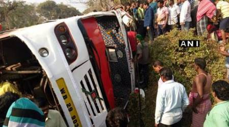 Odisha: 40 tourists from West Bengal  injured as bus overturns near Bhubaneswar