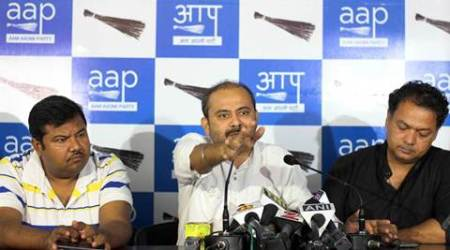 Dilip Pandey and other AAP members held a press conference for the arrest of Himanshu Biduri and demanded action against Delhi police. Express photo by Cheena Kapoor 250616  *** Local Caption *** Dilip Pandey and other AAP members held a press conference for the arrest of Himanshu Biduri and demanded action against Delhi police.