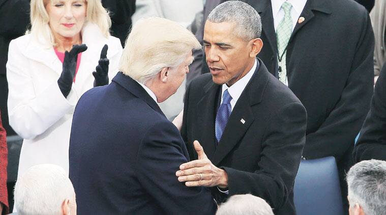 Trump and Obama meet before the inauguration ceremony. (Source; Reuters)