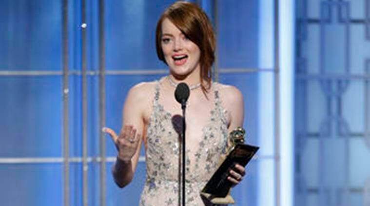 Emma Stone, Emma Stone golden globes, Golden Globe awards 2017, Golden Globe 2017 emma stone, emma stone Golden Globe 2017, golden globes emma stone, emma stone golden globes, Emma Stone golden globe winner, Emma Stone news, Emma Stone la la land, la la land Emma Stone, entertainment news, indian express, indian express news