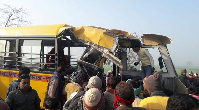 etah, etah collision, etah bus truck collision, bus truck collision, etah UP, UP bus truck collision, india news, indian express, indian express news