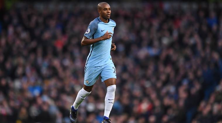 Manchester City's Fernandinho leaves the pitch after being sent off