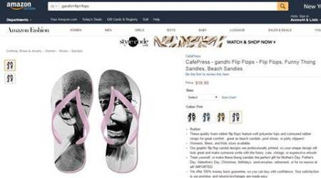 Amazon, Amazon and Flip-flops with Gangi Image, Gandhi Image flip-flops, Slippers with Gandhi image, Amazon and gandhi Image slippers, latest news, India news, National news, India news