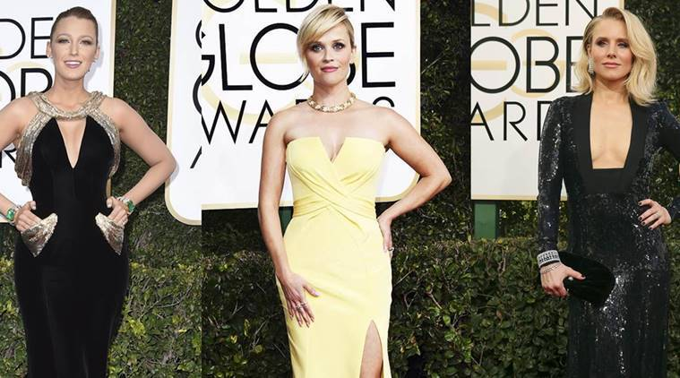 golden globes trends, golden globes best dressed, golden globes fashion, reese witherspoon golden globes look, blake lively, kristen bell, golden globe awards 2017 styles, golden globe awards 2017 style file