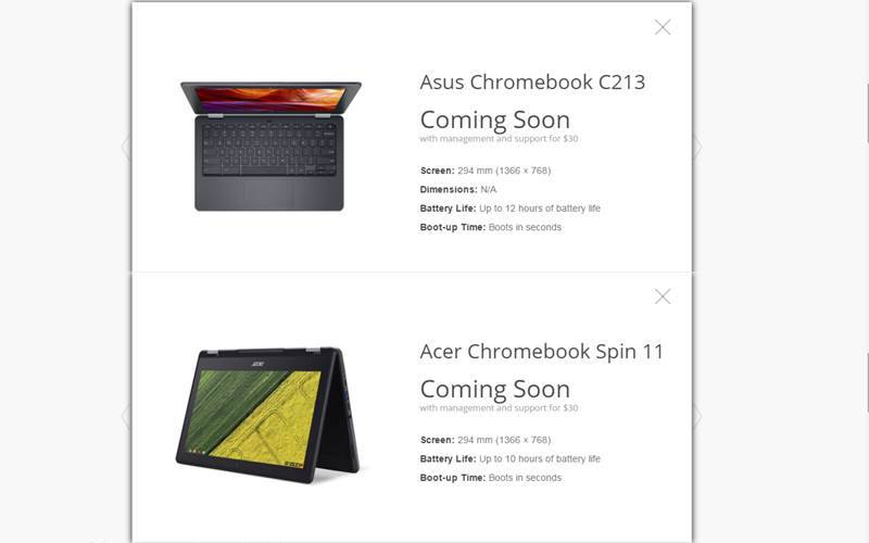 Google, Chromebooks, Google for Education Chromebooks, Asus Chromebook C213, Acer Chromebook Spin 11, Google new Chromebooks, Chromebooks with rear camera, Chromebooks with stylus, Asus Chromebook C213 features, Asus Chromebook C213 specifications, Asus Chromebook C213 price, Acer Chromebook Spin 11 features, Acer Chromebook Spin 11 specifications, Acer Chromebook Spin 11 price, laptops, gadgets, technology, technology news