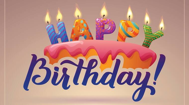 Happy Birthday Greeting Card. Cake with candles. Hand Lettering - handmade calligraphy, vector design.