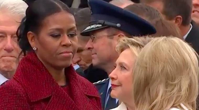 This photo of Michelle Obama and Hillary Clinton at Donald Trump's ...