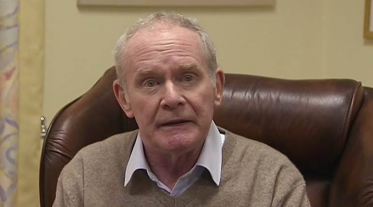 In this image taken from video, Deputy First Minister Martin McGuinness announces his resignation, Monday Jan. 9, 2017, with the declared intention to trigger early elections in the province. Northern Ireland's power-sharing government was plunged into crisis Monday as the senior Catholic leader McGuinness announced he was quitting in a showdown with his Protestant colleague First Minister Arlene Foster. (ITN via AP)