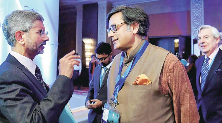 Jaishankar with Shashi Tharoor on Wednesday. (PTI Photo)