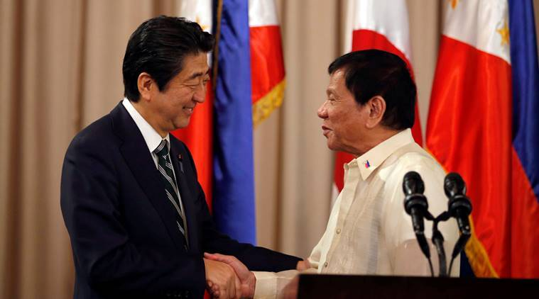 Japan, Japan prime minister, shinzo abe, abe philippines visit, duterte, president rodrigo duterte, philippines guest, philippines japan ties, bilateral ties, world news, indian express news