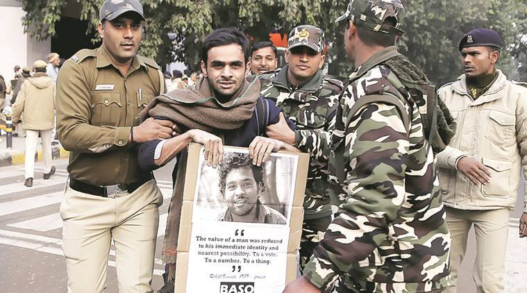 Rohith Vemula anniversary, JNU, jawaharlal nehru university, journalist beaten, insaaf march, Rohith Vemula, Rohith Vemula suicide, Rohith Vemula protest, protest march, indian express news, delhi news