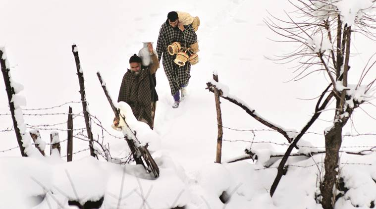 After heavy snowfall at Harwan in Srinagar on Tuesday.  Shuaib Masoodi