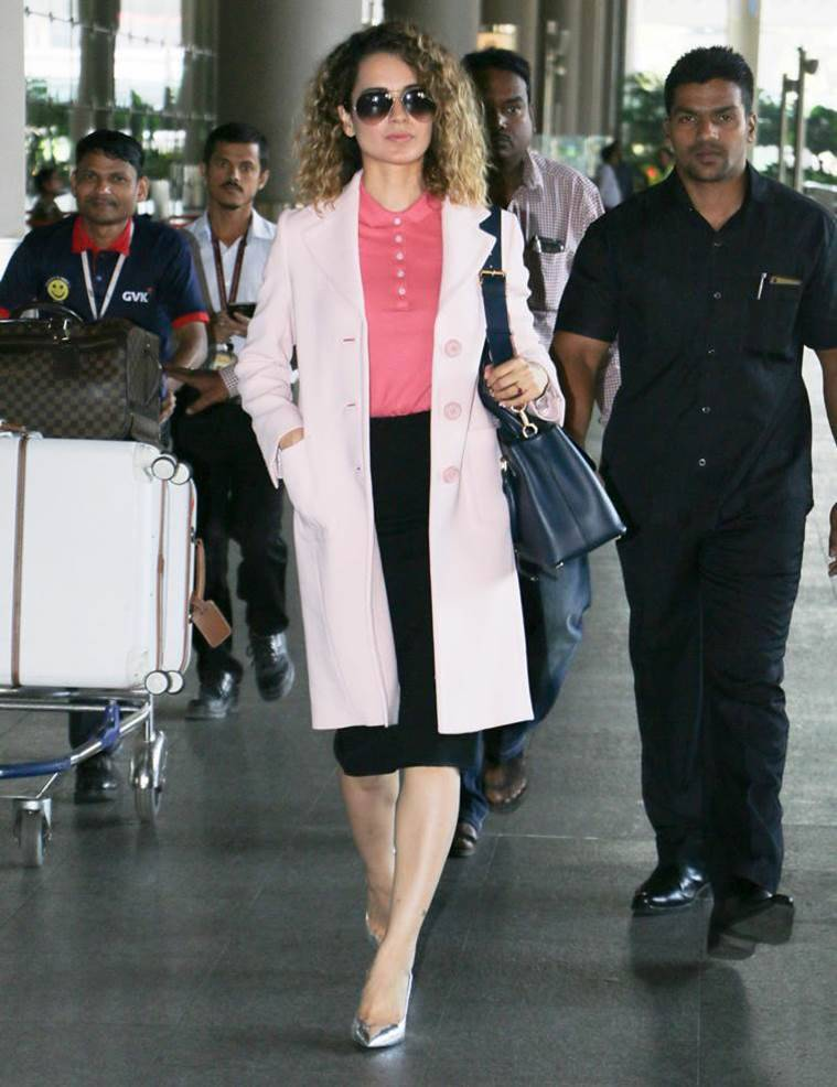 Kangana Ranaut in a beautiful Prada coat. (Source: Varinder Chawla)