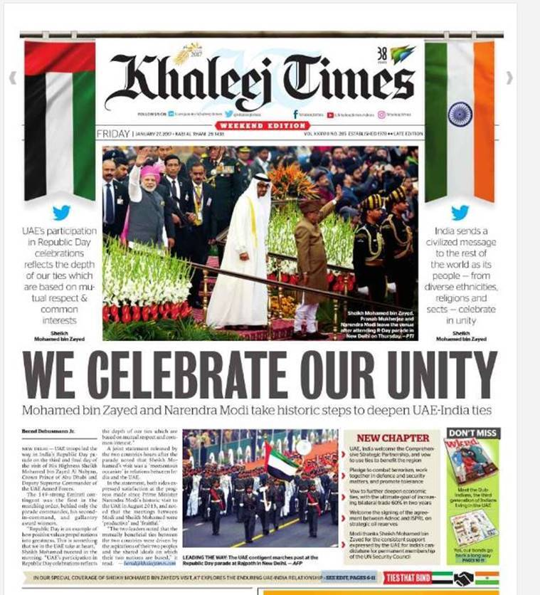 republic day, republic day celebrations, india republic day, republic uae, uae crown prince republic day, Sheikh Mohammed bin Zayed Al Nahyan, republic day uae coverage, republic day gulf news, coverage, india news, latest news, indian express