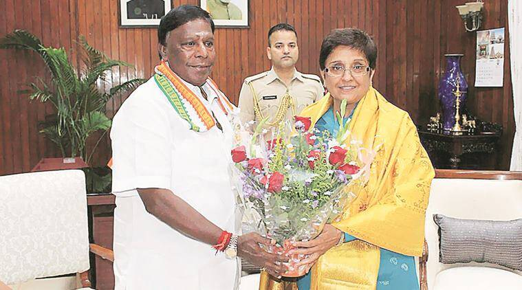Kiran Bedi, Puducherry Lt Governor, kiran bedi resignation, budget, kiran bedi budget, budget 2017, Chief Minister V Narayanasamy, money allocation, indian express news, india news