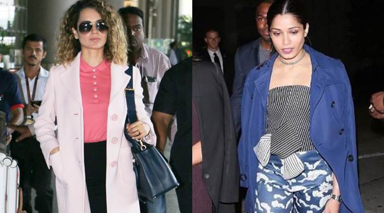Kangana Ranaut (L) and Freida Pinto show us how to ace the layer game. (Source: Varinder Chawla/Instagram, Tanya Ghavri)