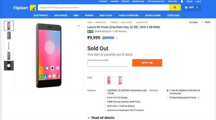 Lenovo, Lenovo k6 power, Lenovo k6 power sale, Lenovo k6 power price, Lenovo k6 power flipkart, Lenovo k6 power specs, Lenovo k6 power next sale, Lenovo k6 power features, smartphone, technology, technology news