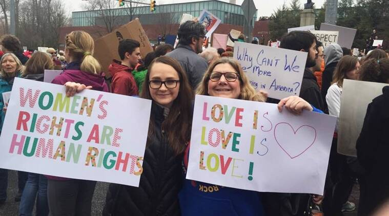 Megan Dombi-Leis and her daughter Xaviana at the Women's March in Washington.