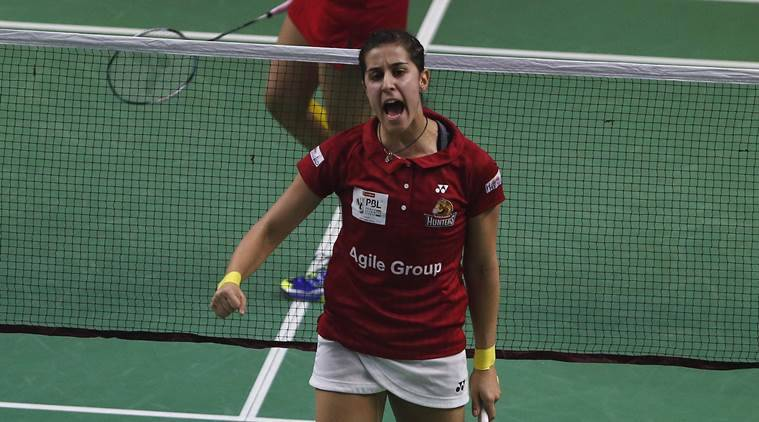 carolina marin, Sameer verma, hyderabad Hunters, Saina Nehwal, Awadhe Warriors, Hyderabad Hunters vs Delhi Acers, Delhi Acers, PV Sindhu, Hyderabad Hunters match report, PBL 2, indian express news