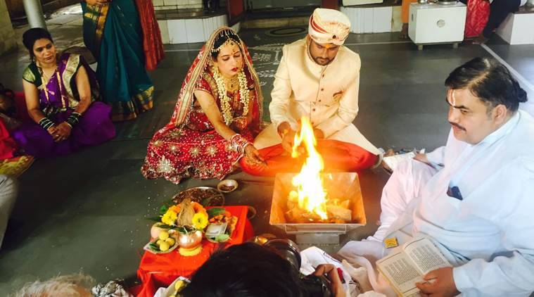 At their wedding ceremony in a temple in Mumbai. (Source: Express photo by Nirmal Harindran)