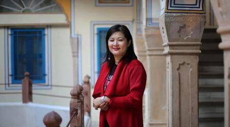 Author Mei Fong during the Jaipur Lit Festival. Express photo by Oinam Anand. 19 January 2017
