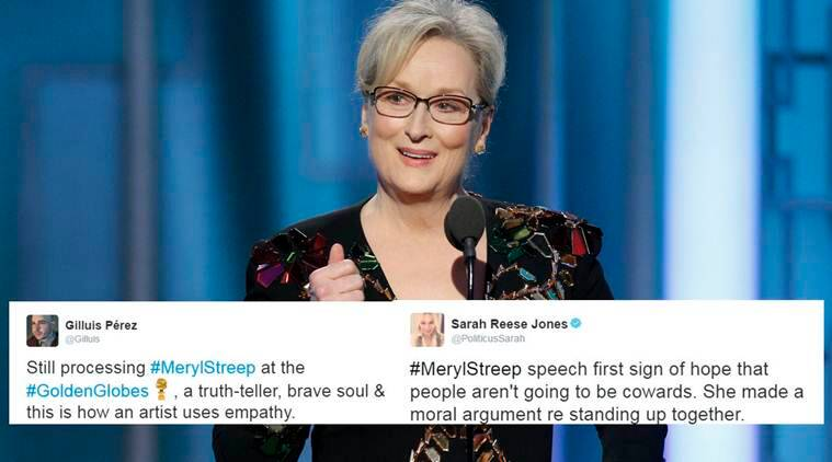 meryl streep, donald trump, golden globes, meryl streep golden globe speech, streep golden globe speech reaction, world news, entertainment news, viral news, latest news, indian express