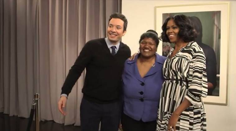 michelle obama, jimmy fallon show, michelle obama video, obama farewell video, obama farewell message, michelle obama fareweel message, fans michelle obama farewell message, michelle obama surprise people, viral video, latest news, indian express