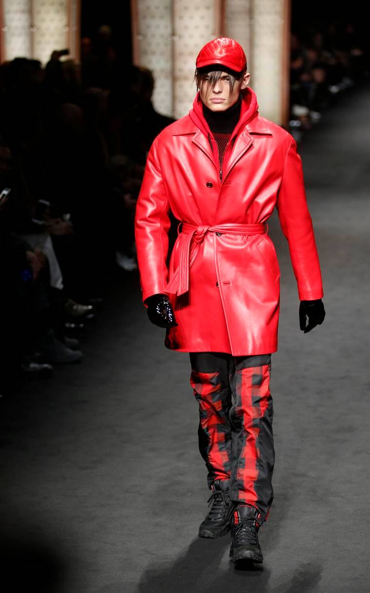 A model wears a creation for the Versace men's Fall-Winter 2017-2018 collection, part of the Milan Fashion Week, unveiled in Milan, Italy, Saturday, Jan. 14, 2017. (AP Photo/Antonio Calanni)