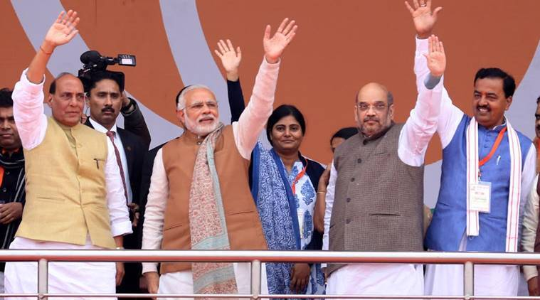 Prime Minister of India Narendra Modi along with BJP National President Amit Shah,Union Home Minister Rajnath Singh and Uttar Pradesh BJP state President Keshav Maurya at Party organised Parivartan Rally at Ramabai Rally Ground in Lucknow on monday.Express photo by Vishal Srivastav 02.01.2017