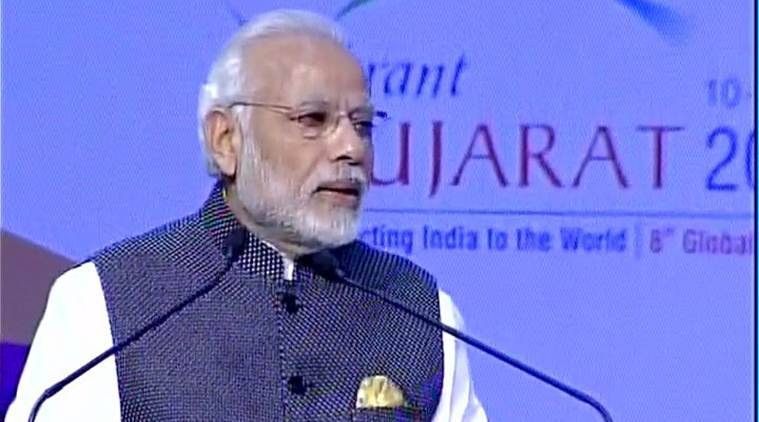 PM Modi, Narendra Modi, Narendra Modi in Vibrant Gujarat Summit, Vibrant Gujarat Summit, Global CEO's in Vibrant Gujarat Summit, Global CEO praises PM Modi, PM Modi on development, indian express news