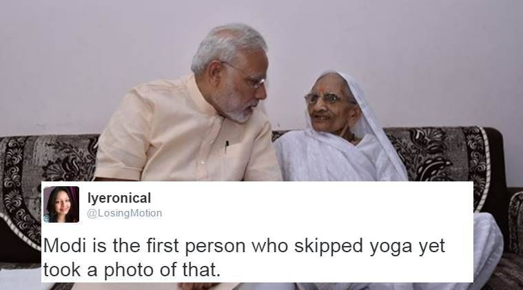 PM Narendra Modi with his mother Hiraba from an earlier meeting (Source: Twitter/PMO India/)