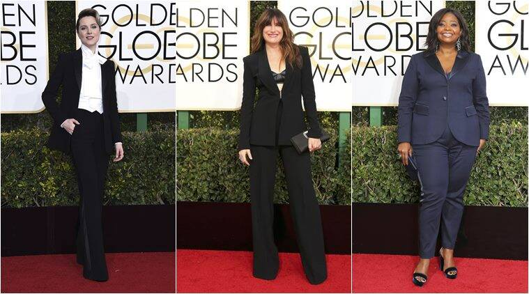 golden globes 2017, evan rachel wood golden globes, best dressed golden globes, worst dressed golden globes, evan rachel wood golden globes, octavia spencer suit golden globes, Kathryn hahn suit golden globes, diane keaton golden globes, indian express, indian express news, trending, lifestyle
