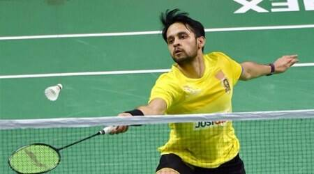 New Delhi:  Parupalli Kashyap of Chennai Smashers plays against  W Ki Vincent Wong of Awadhe Warriors  during the Premier Badminton League II, 2017, Stage 2-Team Knock out (men's singles) match at Sirifort Sports complex in New Delhi on Friday. Kashyap won the match by 11-4,11-6. PTI Photo by Vijay Verma  (PTI1_13_2017_000241B)