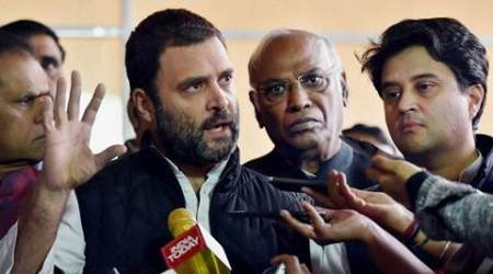 New Delhi: Congress Vice President Rahul Gandhi addressing media after a protest to observe a 'Black Day' against demonetization during the Winter Session at Parliament House in New Delhi on Thursday. PTI Photo by Vijay Verma(PTI12_8_2016_000143B)