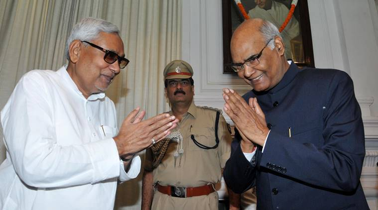 Welcome to My State Bihar- State CM Nitish Kumar greets New Governor Ram NAth Kovind after swearing-in-ceromony AT Rajbhawan in Patna on Sunday, August 16,2015. Express Photo By Prashant RAvi