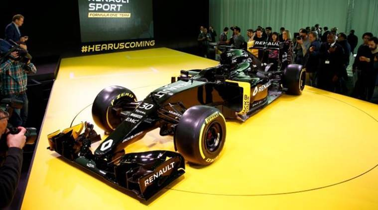 The new Renault RS16 Formula One racing car is seen during its official presentation at the company's research center, the Technocentre, in Guyancourt, near Paris