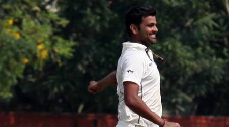 RP Singh of Uttar Pradesh delighted after the out of  D Ramdin of West Indies during a first class match ,at Jadavpur University Salt Lake Complex, Kolkata on Friday. Express photo by Partha Paul. Kolkata. 01.11.13