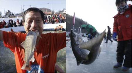 South Korea Ice Fishing Fest 2017: Here you need to break ice to get your fish!