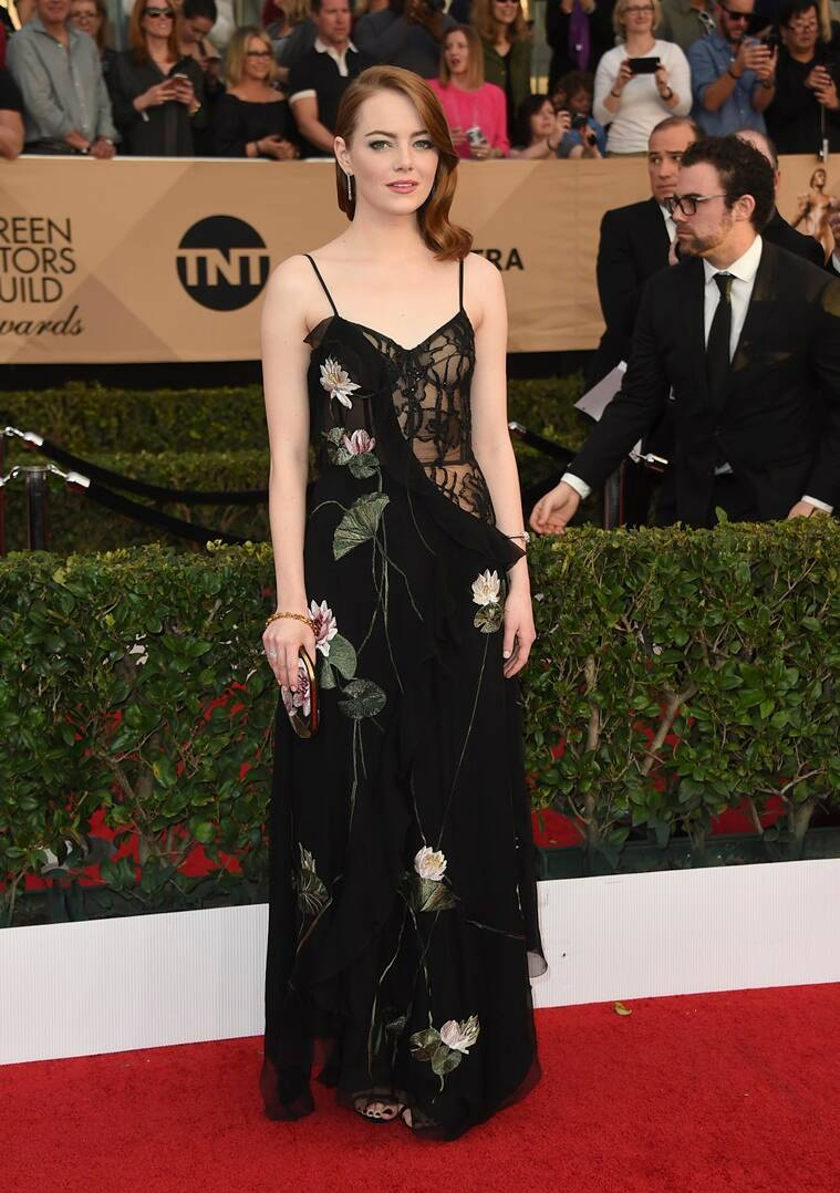 Emma Stone arrives at the 23rd annual Screen Actors Guild Awards at the Shrine Auditorium & Expo Hall on Sunday, Jan. 29, 2017, in Los Angeles. (Photo by Jordan Strauss/Invision/AP)