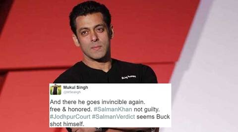 salman khan, salman khan acquitted, salman khan arms case, salman khan acquitted in arms case, salman khan acquitted twitter, salman khan acquitted twitter reactions, salman khan black buck, salman khan chinkara, indian express, indian express news