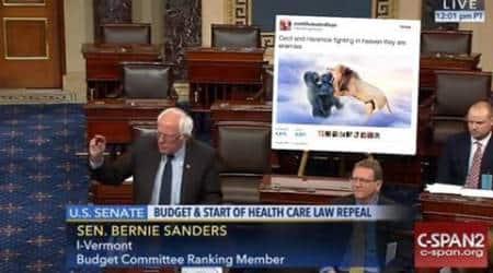 Bernie Sanders took giant printout of Trump tweet to Senate, Twitterati gave it back with hilariousmemes