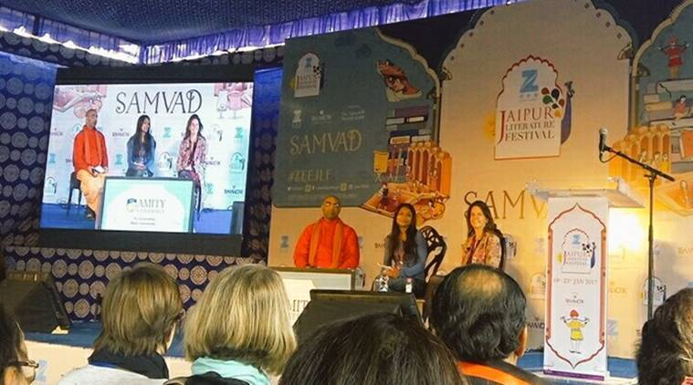 Bangladesh author Shazia Omar at Jaipur Literature Festival. (Bloomsbury India Twitter)