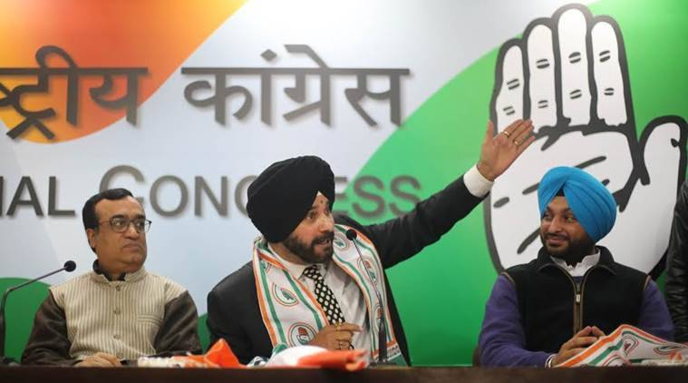 Navjot Singh Sidhu officially joined the Congress Party on Monday. Express Photo/Tashi Tobgyal