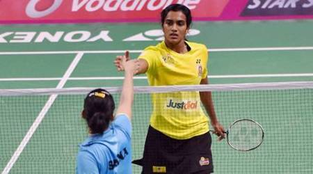 New Delhi: V Sindhu Pusarla of Chennai Smashers celebrates after beating Saina Nehwal of Awadhe Warriors  during the Premier Badminton League II, 2017, Stage 2-Team Knock out (women's singles) match at Sirifort Sports complex in New Delhi on Friday. P V Sindhu won the match by 11-7,11-8. PTI Photo by Vijay Verma (PTI1_13_2017_000253A)