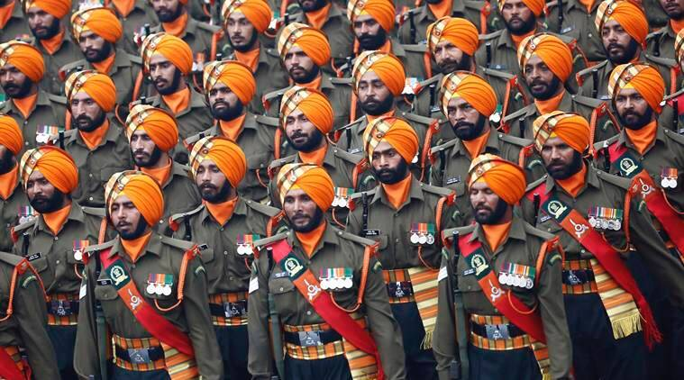 Indian soldiers march during a Republic Day parade in New Delhi, India, Thursday, Jan. 26, 2017. India marks Republic Day on Jan. 26 with military parades across the country. (AP Photo/Bernat Armangue)