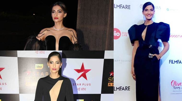 Sonam Kapoor's black gowns are interesting with structured details and interesting patterns.