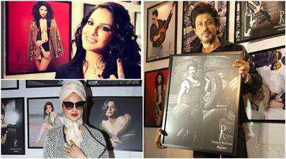 Shah Rukh Khan, Sunny Leone pose with their pics at Dabboo Ratnani calendar launch. It is too much fun